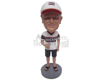 Custom Bobblehead Casual Dude With Can of Beer in TShirt and Shorts, Casual Dude in Shorts Custom Bobblehead