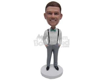 Custom Bobblehead Gorgeous Bestman Wearing Bow Tie, Groomsman Wedding Custom Bobblehead, Wedding Custom Bobblehead, Personalized Bobblehead