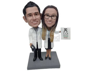 Custom Bobblehead Optometrist Couple, Eye Doctors Custom Bobblehead, Oculist Custom Bobblehead, Eye Doctor Custom Bobblehead