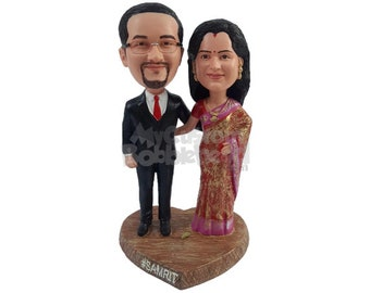Custom Bobblehead Indian Wedding Couple, Traditional Ethnic Attire Bride and Groom Custom Bobblehead, Personalized Bobblehead