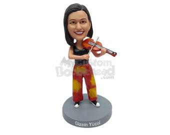 Custom Bobblehead Female Violinist, Violinist Custom Bobblehead, Violin Player Custom Bobblehead, Musical Instrument Custom Bobblehead
