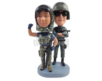 Custom Bobblehead Butt Kicking Couple, Army Couple Custom Bobblehead, Military Duo Custom Bobblehead