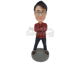Custom Bobblehead Super Cool Dude in Shirt and Jeans, Casual Dude in Jeans Custom Bobblehead