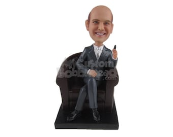 Custom Bobblehead Corporate CEO Sitting on a Lether Sofa, Company Executive Custom Bobblehead, White Collar Executive Custom  Bobblehead