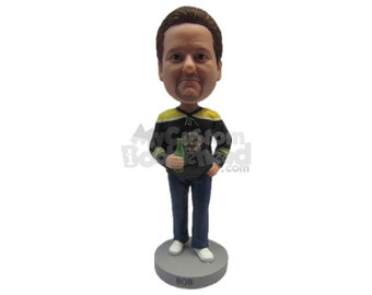 Custom Bobblehead Super Cool Dude with Beer, Give me the Finger Custom Bobblehead, Drunk Dude Custom Bobblehead