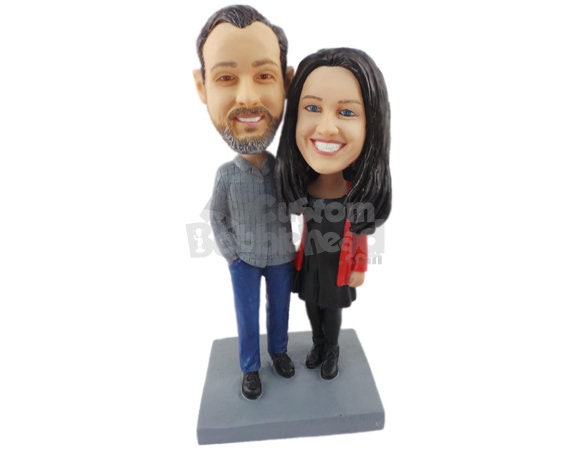 1e04cf17c2e9 Custom Bobblehead Casual Couple Hugging Bridal Party Custom