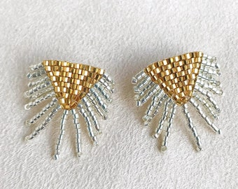 782e8dbfc Beaded Fringe Stud Earrings with 14k Gold Filled Posts in Silver and Gold