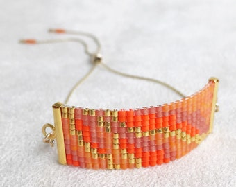 Beadwoven Adjustable Gold Chain Bracelet in Tangerine Orange