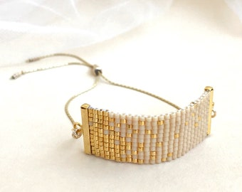 522c4f0cb Beadwoven Adjustable Gold Chain Bracelet in Ecru and Gold Confetti