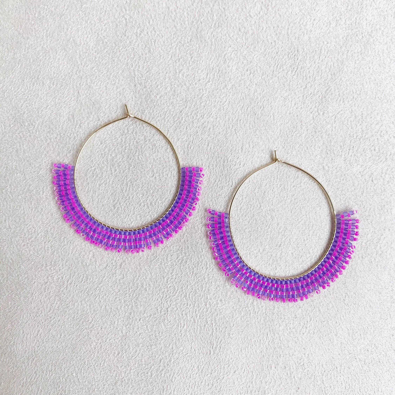 faac82c34 Beaded Fringe Gold Hoop Earrings in Pink Purple Stripe   Etsy