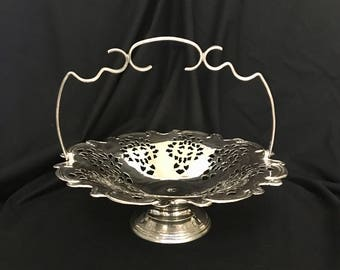 Vintage Silverplate Brides Basket Reticulated Edge Bridal Basket