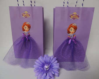 e58c71415 10 Pieces Princess Sofia the First Birthday Tutu Favor Goody Gift Paper  Bags Purple