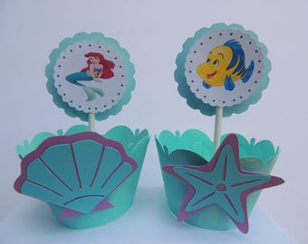 fc7e00517 Princess Ariel Little Mermaid Flounder Birthday Cupcake Wrappers and/or  Toppers