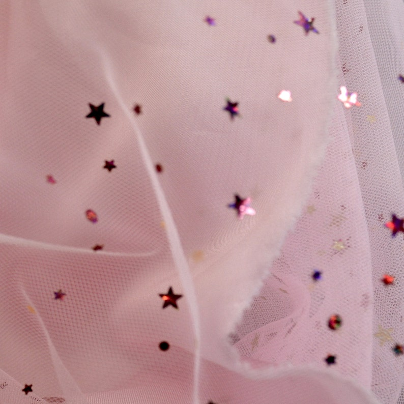 JN00282 Pink Embossed Lazer Stars Planets Sequins Mesh Fabric 2 Way Stretch Super Lightweight Sheer Soft 5860 Fabric By The 5 Yard Lot