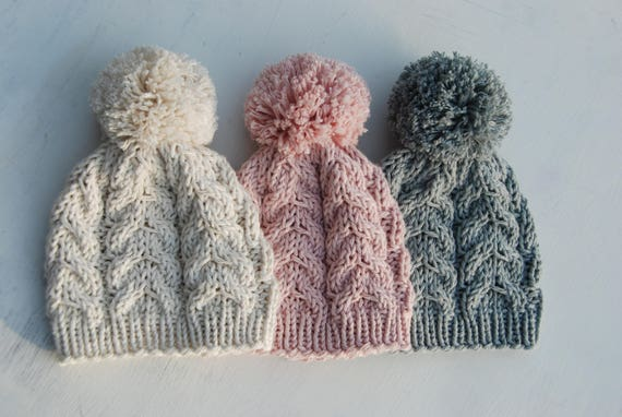 Cable hat with pom pom baby boy girl knit hat hand knitted  162899e811b