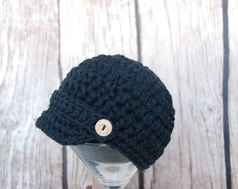 Sale! Ready to ship newborn baby boy newsboy hat, hat for boys, black cotton beanie, newsboy hat with wooden buttons,  photo baby hat