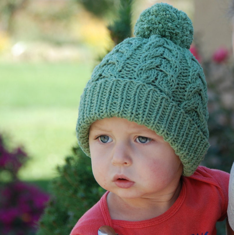 5dba10c7be6 Ready to ship Cable hat with pom pom baby boy girl knit hat