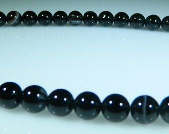 Black Sardonyx Beads, Black Banded Agate, 6mm Round Beads, Natural Gemstone, High Quality, 1 Full Strand 62 beads