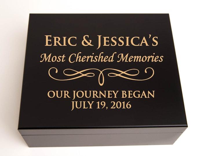 Personalized Memory Box, Keepsake Box, Jewelry Box, Engraved Elegant Wood in Black or Mahogany Finish, Bridesmaid Gift, Maid of Honor
