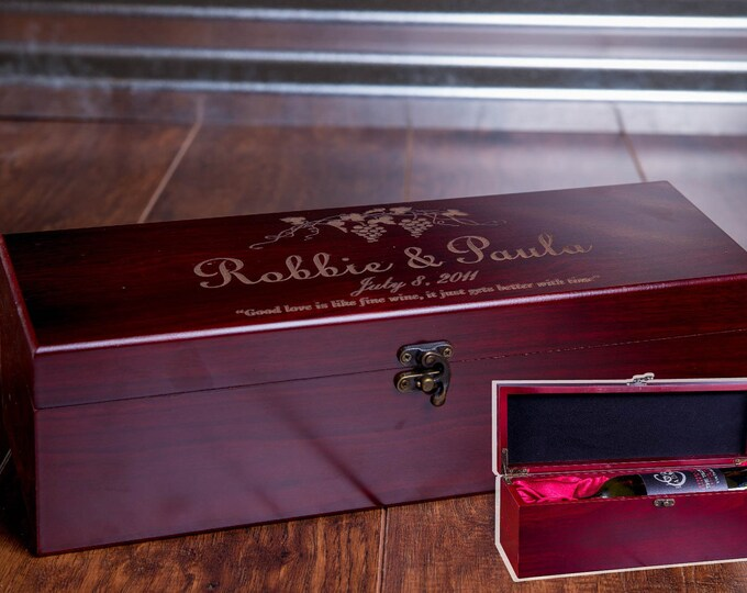 Wine Gift, Engraved Wine Box, Luxury Wedding Wine Box, Wood Box, Wooden Wine Case, Wine Display W02