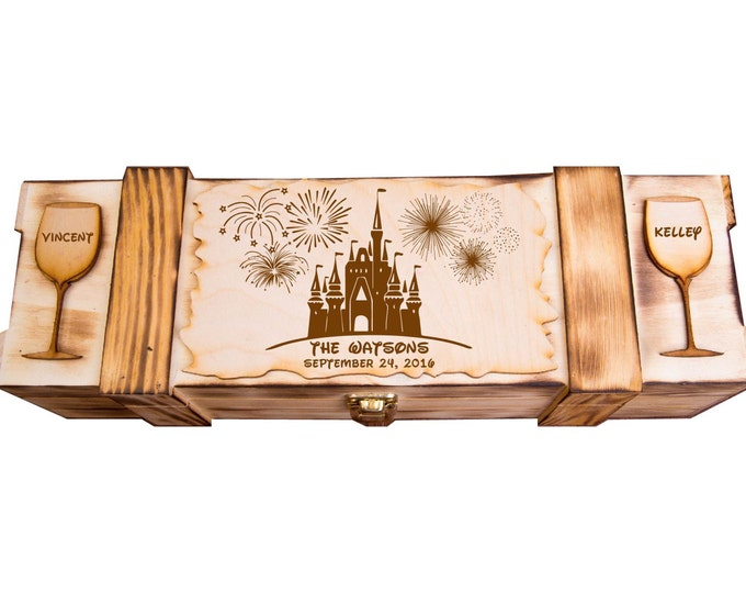 Disney Theme Wine Box, Wedding Disneyland Theme Wine Ceremony, Walt Disney World Theme, Disney land, Rustic Winery, Personalized W01