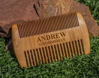 Wood Beard Comb, Personalized Engraved Combs, Beard Brush, Custom Beard Comb, Wooden Brush for Men, Barber Combing Brush, 2 sided grooming