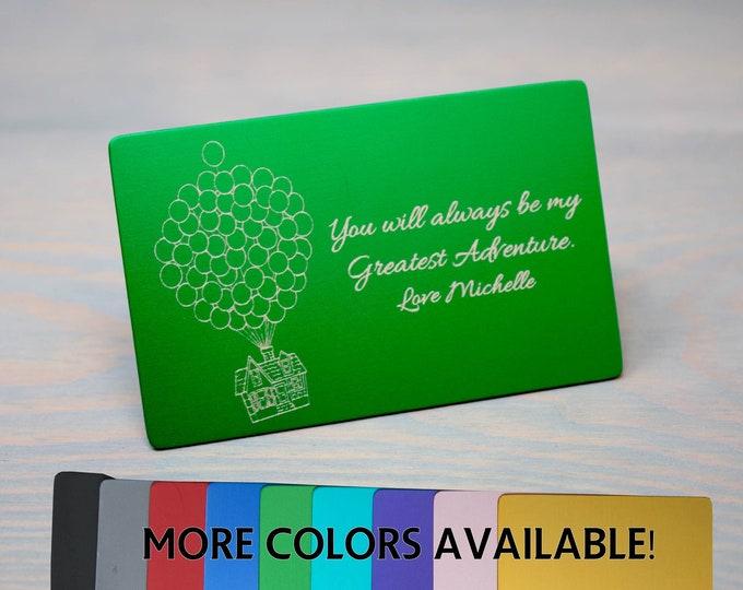 Wallet Insert Keepsake, Up Movie Gift, Memory Card, Metal Card, Engraved Card, Personalized Wallet Card, Custom Card Insert, Wedding Gift