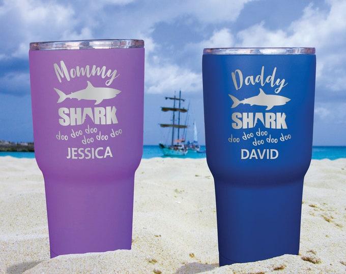 Mommy Shark Tumbler, Daddy Shark Tumbler, Personalized Mama Shark Cup, Mom Shark Gift, Baby Shark, Shark Week Gift