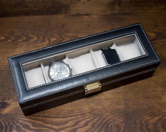 Watch Box for Men, 5 Slot Watch Box, Personalized Watch Box, Custom Watch Box, Black Watch Box, Engraved Watch Case