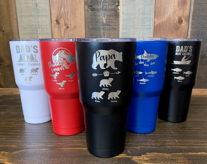 Papa Bear Tumbler, Dad Tumbler, Father's Day Cup, Papa Shark, Wolf Papa,  Dad Gift, Gift for Dad, Best Dad Tumbler