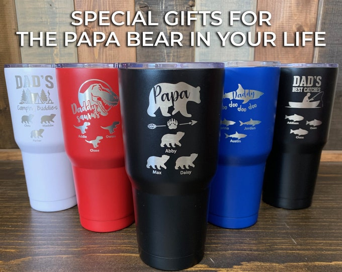 Papa Bear Tumbler, Dad Tumbler, Father's Day Cup, Papa Shark, Wolf Papa,  Dad Gift, Gift for Dad, Best Dad Tumbler, Dad Nutrition, Super Dad