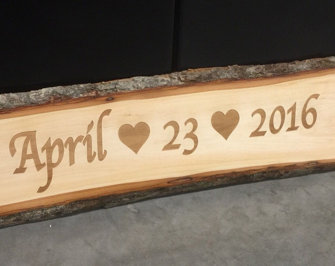 Rustic Wedding Sign, Custom Save the Date Sign, Engagement Photo Prop Sign, Wood Bark Heart Signage, Engraved Wood Sign, 23x9 Personazlied