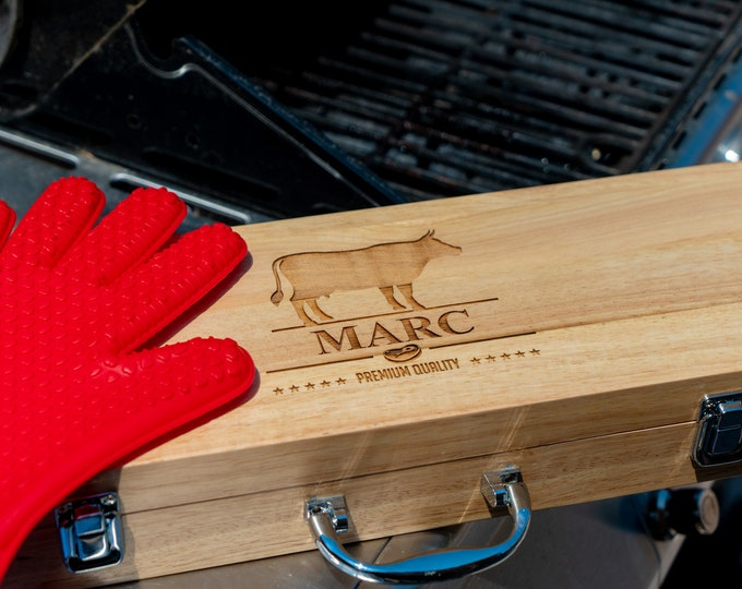 Custom BBQ Set, Grill Set, BBQ Grilling Set, BBQ Set, Tool Set, Grilling Tool Set, Custom Tool Set, Barbecue Gift, bbq gift, Man Gift