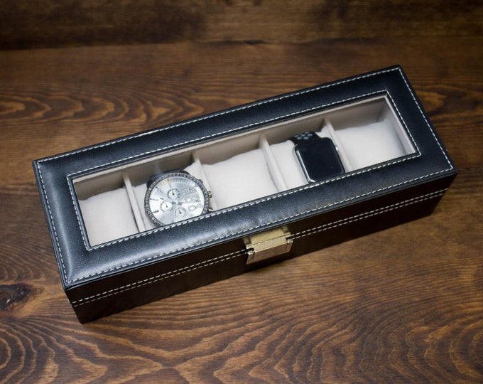 Watch Box for Men, 5 Slot Watch Box, Personalized Watch Box, Custom Watch Box, Black Watch Box, Engraved Watch Case