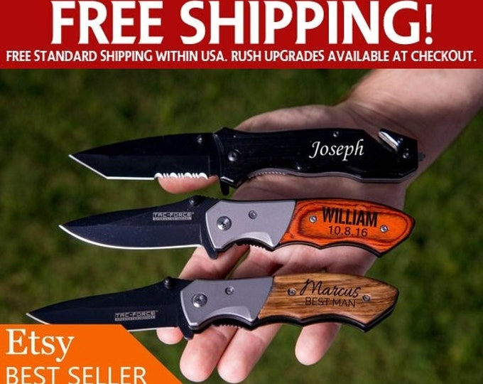 Personalized Pocket Knife, Hunting Knife, Gift for Men, Fathers Day, Custom Camping Knife, Groomsmen Knife, Engraved Knifes, Blade