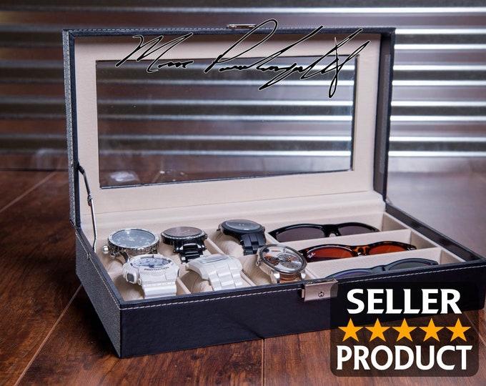 Watch Case, Engraved Watch Box, Storage Watch Box, Men's Gift, Jewelry Valet Box, Wedding Gift, Jewelry Box, Personalized & Custom