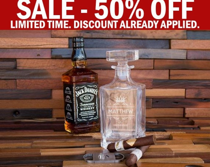 Whiskey Decanter, Personalized Glass Decanter, Engraved Whiskey Decanter Bottle, Whiskey Groomsmen Gift, Groomsman Decanter, Bourbon D01