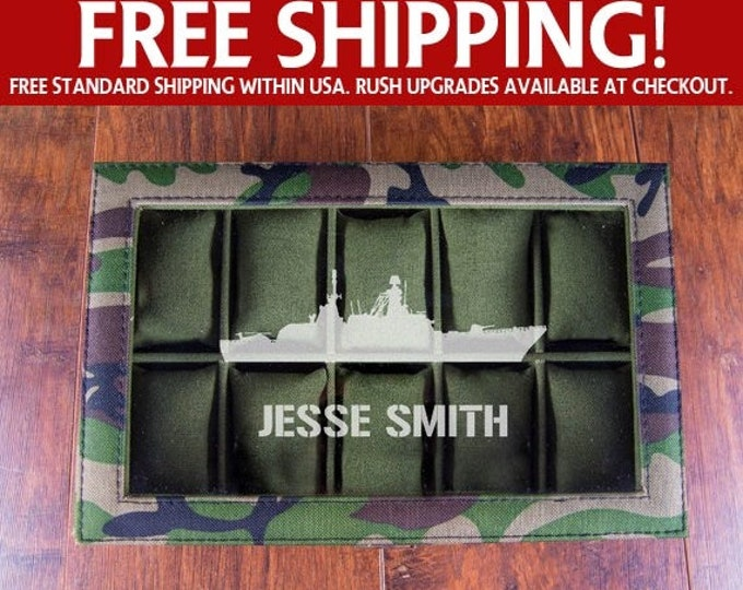 Navy Gift, Navy Military Watch Box, Military Boyfriend, US Navy Warship, Personalized Watch Display Case, Battleship Design
