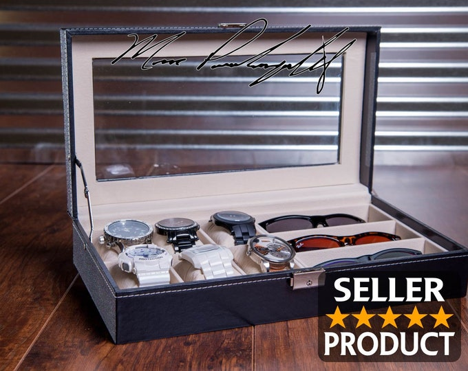 BEST Fathers Day Gift, Engraved Watch Organizer, Personalized Watch Box, Valet Storage Box, Watch Storage Case,  Birthday or Graduation Gift