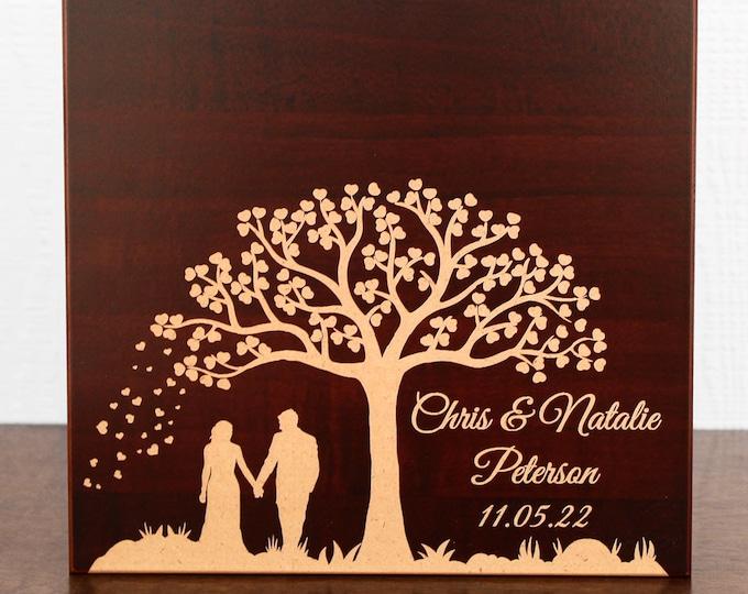 Wood Memory Box, Classy Wooden Keepsake Box, Personalized Engraved Gift Box, Wedding Memory Chest, Jewelry or Photo Box, Couple's Custom Box