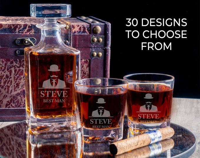 Engraved Whiskey Glass Decanter, Vintage Whiskey Decanter, Whiskey Barrel Liquor Holder Set, Groomsman Wedding Set, Groomsmen Gift Idea