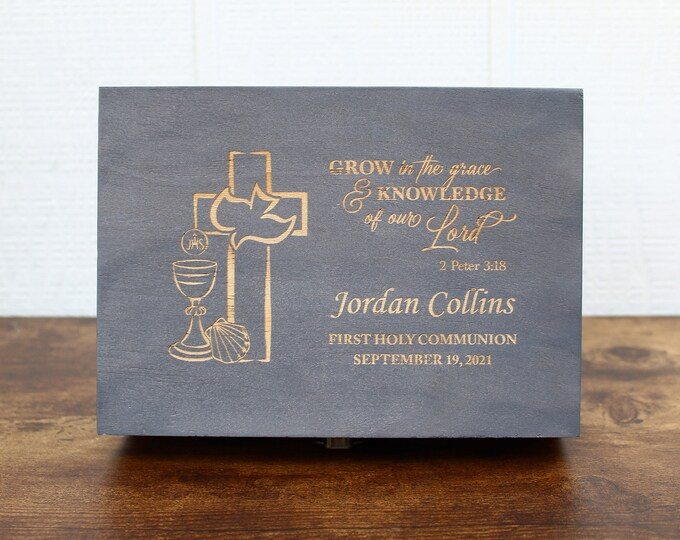 First Holy Communion Gift Box, Memory Box, 1st Communion Keepsake Box, Prayer Box, First Communion for Girl or Boy, Communion Gifts, RCIA