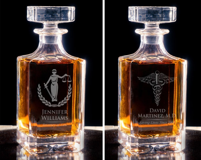Law School Graduation, Glass Decanter, Military Gift, Retirement Gift, Whiskey Gift Set, Promotion Gift, Bourbon Decanter, Whiskey Holder