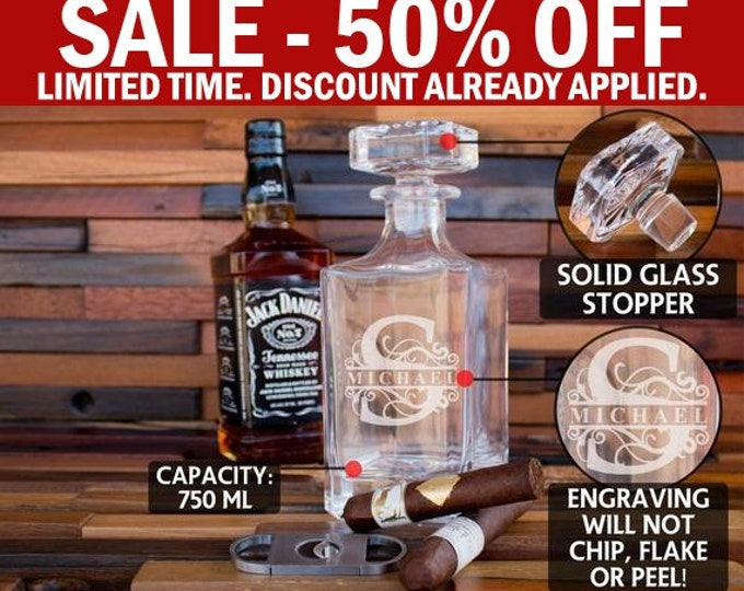 Personalized Groomsmen Gift, Whiskey Decanter, Bourbon Decanter, Scotch Decanter, Whiskey Glass Bottle, Whiskey Dispenser, Men's Gift D01