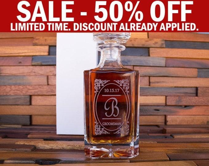 Engraved Whiskey Glass Decanter, Vintage Whiskey Decanter, Whiskey Barrel Liquor Holder Set, Groomsman Wedding Set, Groomsmen Gift Idea D01