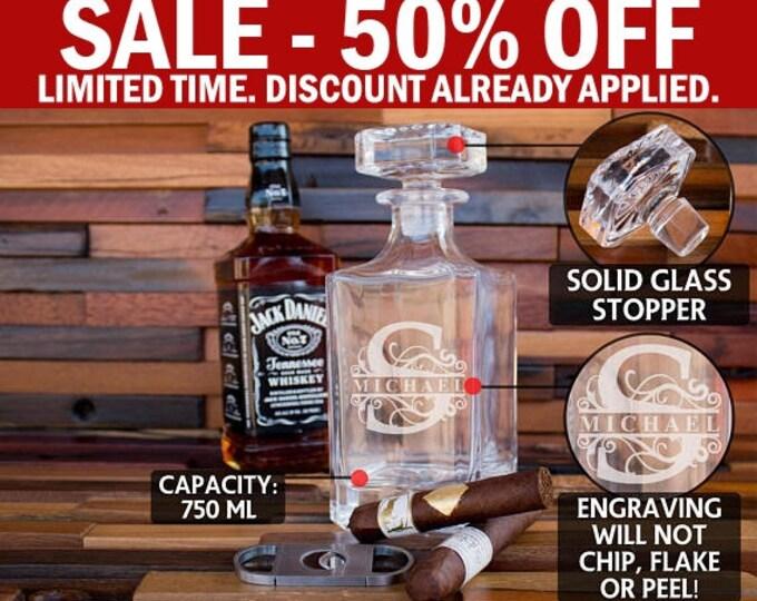 Personalized Groomsmen Gift, Whiskey Decanter, Bourbon Decanter, Scotch Decanter, Whiskey Glass Bottle, Whiskey Dispenser, Men's Gift D01