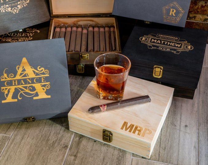 Groomsmen Cigar Box, Gift Box, Best Man Box, Engraved Cigar Box, Wooden Cigar Box, Personalized Cigar Box, Groomsmen Present, Wedding Box