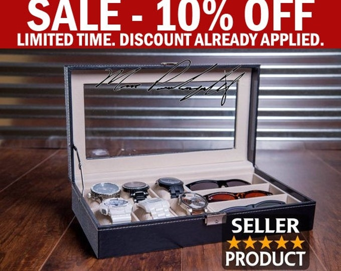 Sunglass and Watch Case, Watch Box, Engraved Combo Jewelry display, Valet Box, Men's Man Gift, Graduation Gift, Groomsman Gift