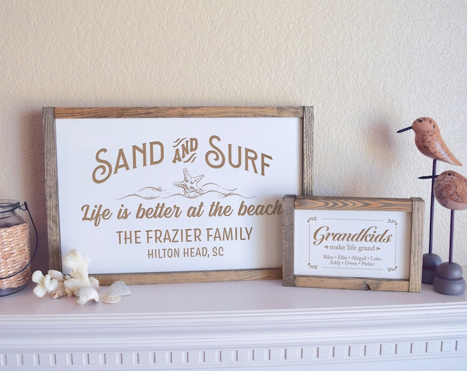 Personalized Family Beach House Sign, Beach House Decor, Family Name Sign, Welcome to the Beach, Beach Sign, Nautical Sign, Coastal Decor