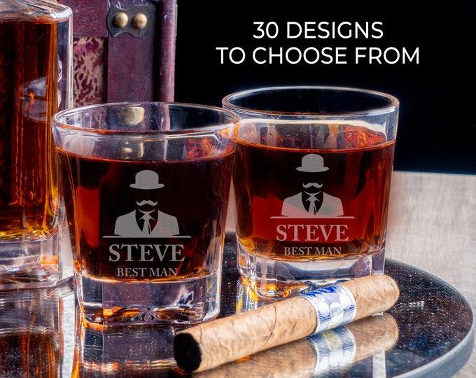 Groomsmen Glass, Custom Best Man Gift, Whiskey Glasses, Bourbon Glasses, Scotch Glass, Engraved Rocks Glass, Personalized Whiskey Glass